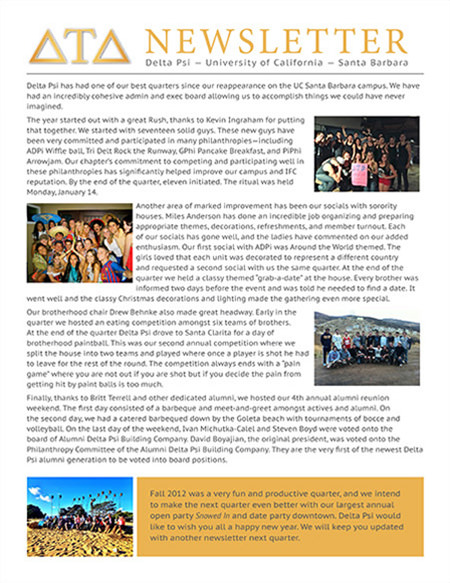 Delta Psi Newsletter - Fall 2012