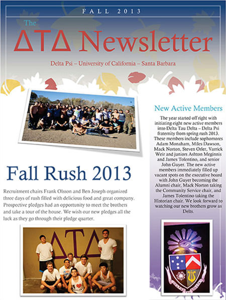 Delta Psi Newsletter - Fall 2013