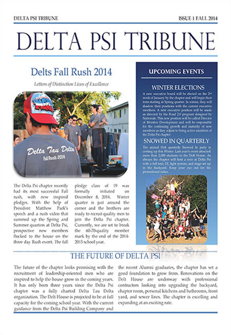 Delta Psi Newsletter - Fall 2014
