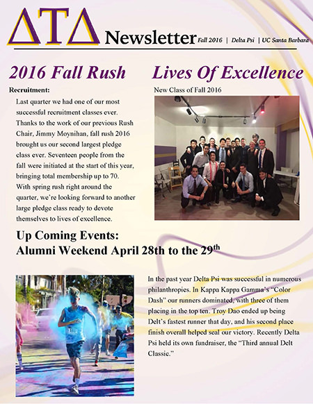 Delta Psi Newsletter - Fall 2016