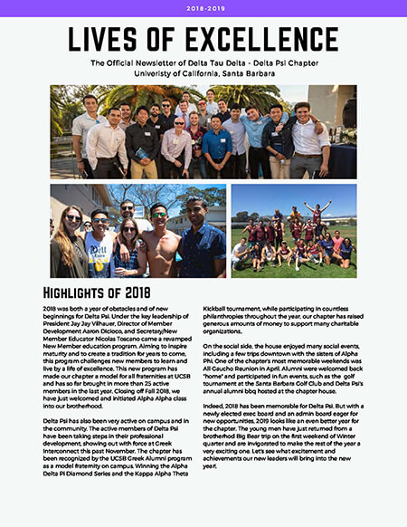 Delta Psi Newsletter - 2018-2019